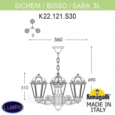 Люстра уличная подвесная Fumagalli SICHEM/SABA 3L K22.121.S30.WXE27